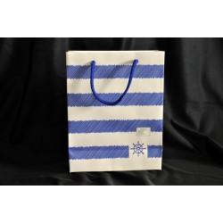 Borsa carta righe blu e bianche 18x8x23