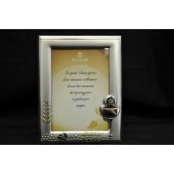 Portafoto argento per comunione con retro legno 9x13 (interno)