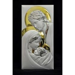 Icona Sacra Famiglia argento retro legno 18x36