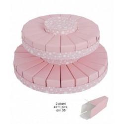 Torta da 42 fette + centrale a due piani rosa a pois